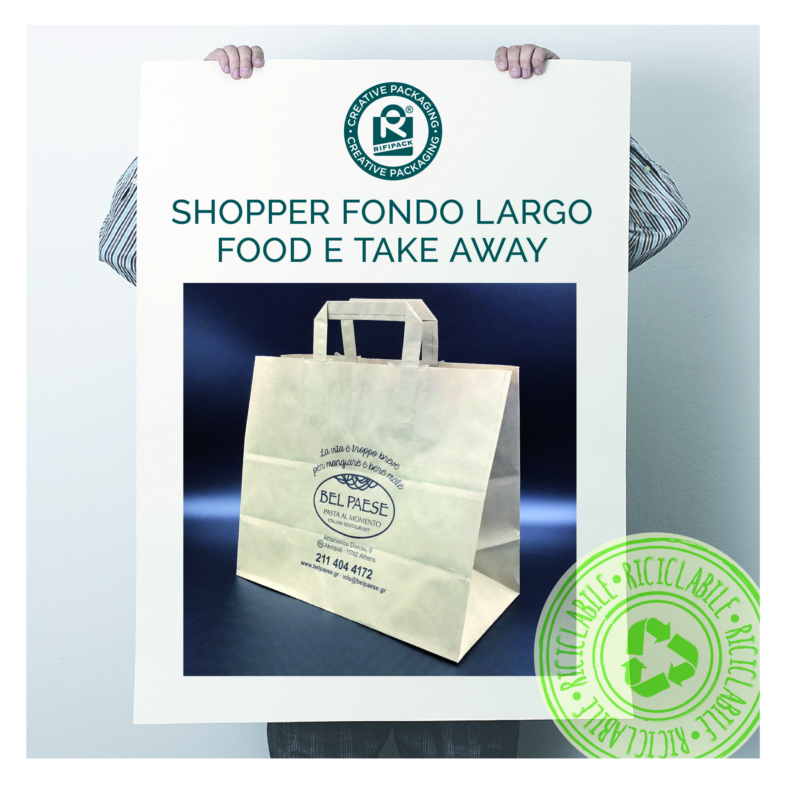 rifipack shopper in carta riciclata fondo largo food drink take away