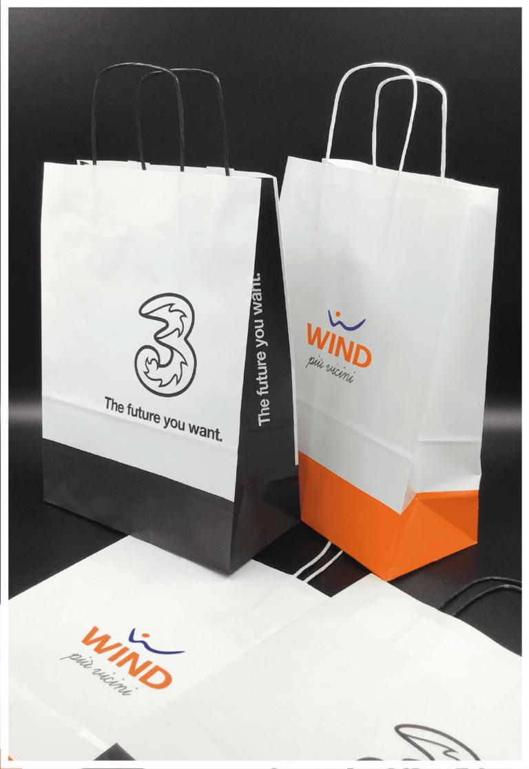 rifipack shopper personalizzate wind telefonia tre maniglia ritorta buste economiche in carta