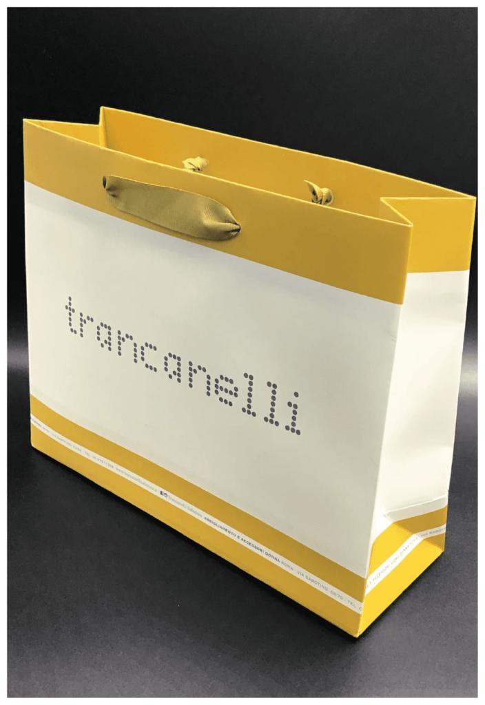 shopper personalizzata rifipack scarpe lusso maniglia in nastro raso gros grain
