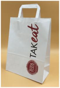 shopper take away food maniglia in carta piatta buste economiche personalizzate