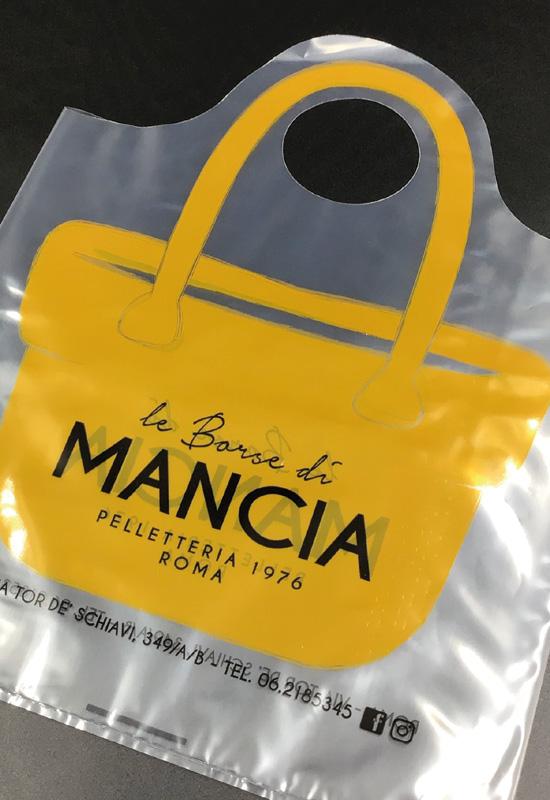 buste shopper personalizzate in plastica trasparente stampa logo maniglia borsetta tonda rifipack