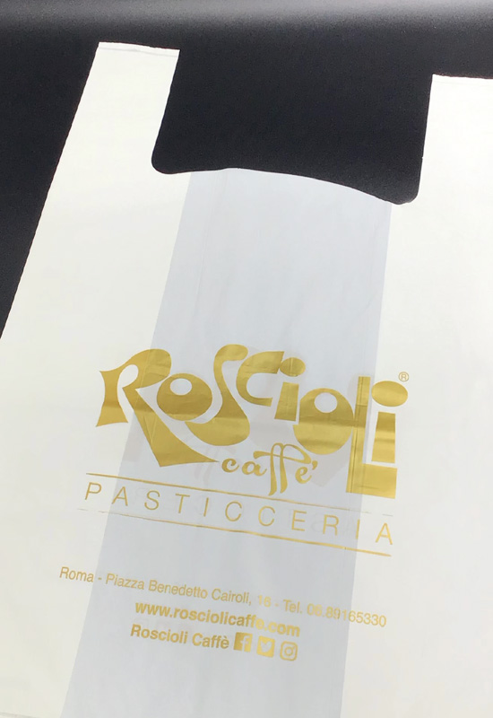 compostabile shopper bianco lattice sacchetti biodegradabili roscioli caffè pasticceria personalizzate stampa logo oro rifipack