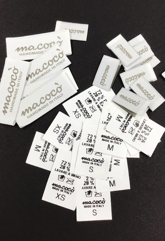 etichette istruzioni lavaggio taglia abbigliamento tessute personalizzate termosaldate alta definizione moda rifipack