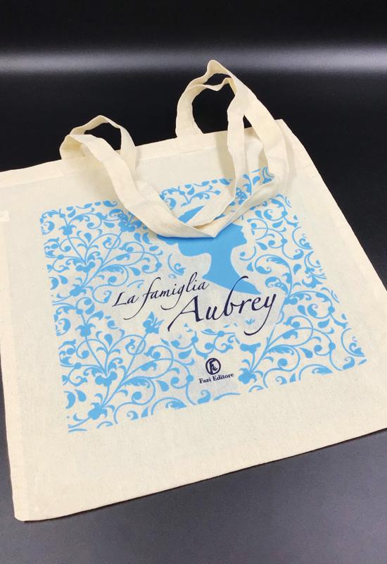 fazi editore shopper rifipack promozionale evento lancio libro la famiglia aubrey cotone naturale ecologico
