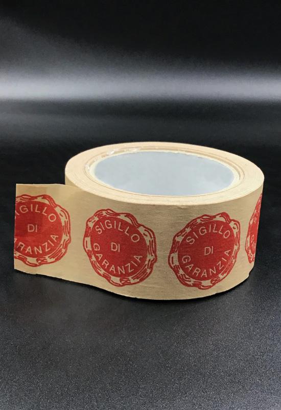 nastro adesivo personalizzato scotch carta avana sigillo di garanzia imballaggio pacchi spedizioni e-commerce rifipack