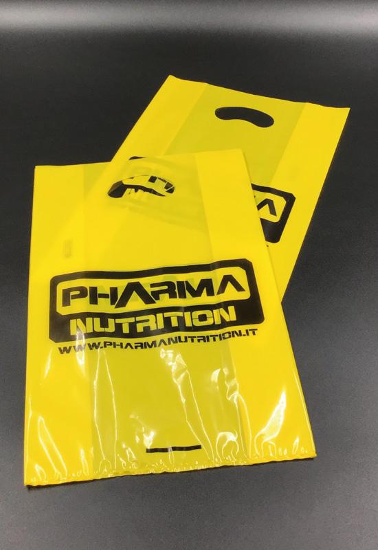 plastica colorata shopper buste sacchetti personalizzati stampa logo flessografica flexo 1 colore maniglia fustellata fagiolo pharma integratori rifipack