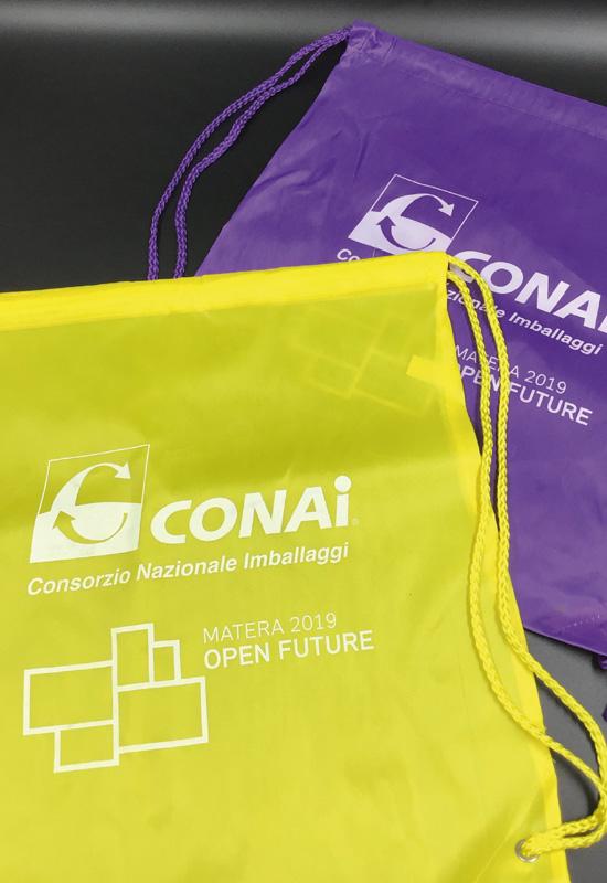 zainetto riutilizzabile personalizzato logo conai colorato giallo viola rifipack cordino colorato