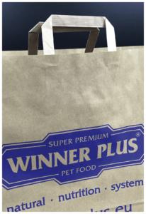 dettaglio winner plus pet food rifipack shopper personalizzate maniglia piatta carta kraft riutilizzabile ecologica