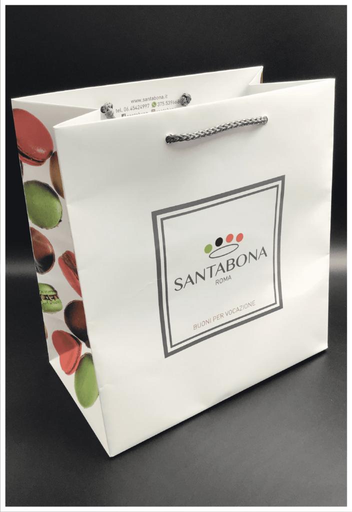 lusso shopper personalizzata carta plastificazione lucida quadricromia argento
