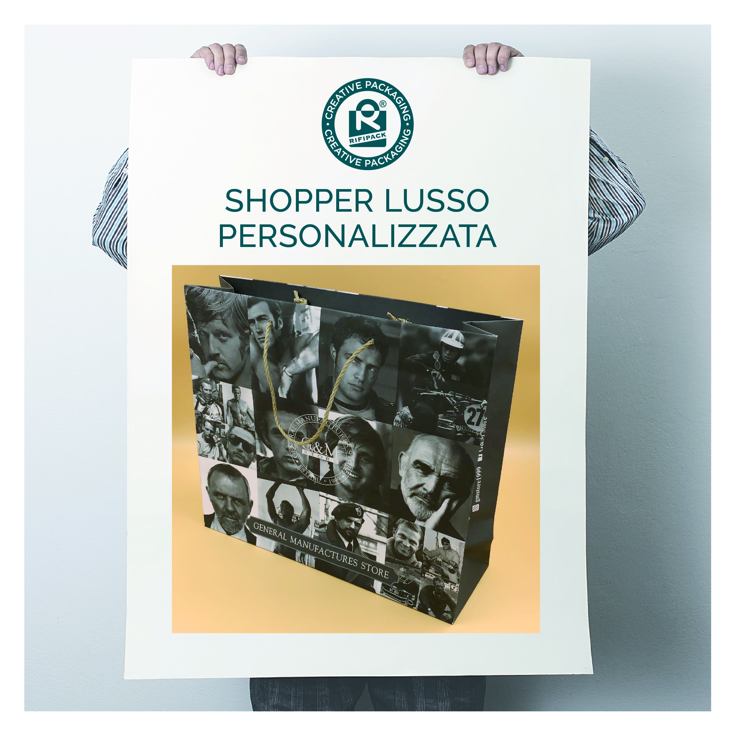 rifipack shopper lusso personalizzata made in italy creative packaging