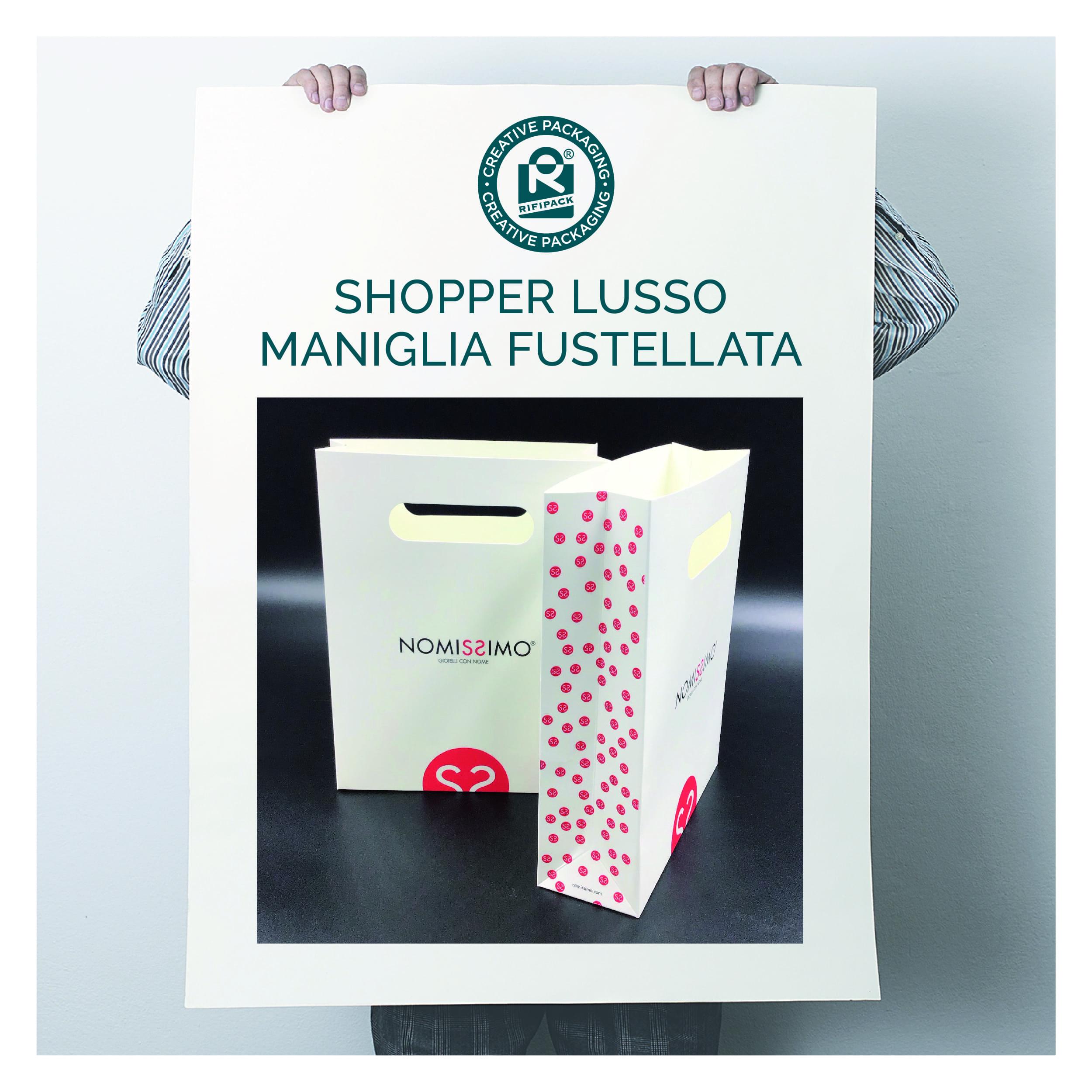 rifipack shopper modello lusso maniglia fustellata personalizzata