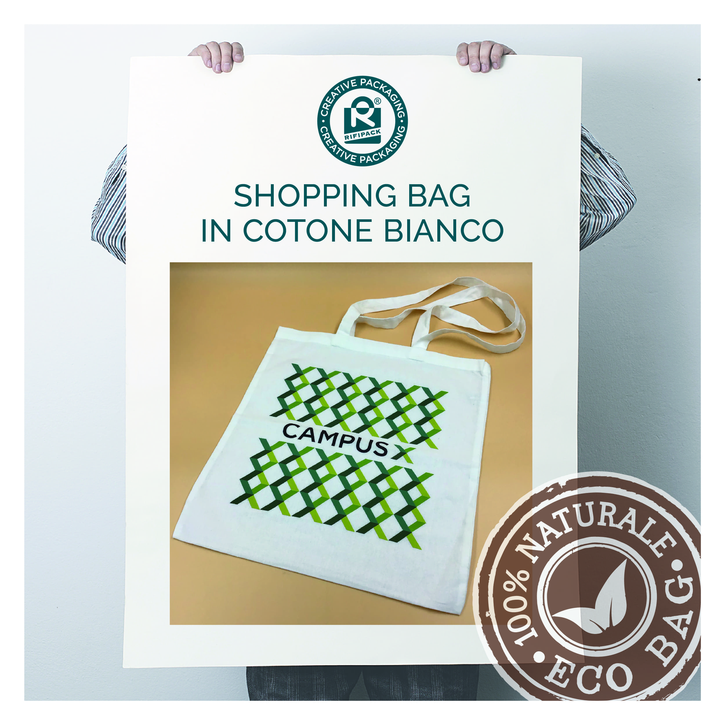 rifipack shopping bag sportina borsa in cotone bianco naturale