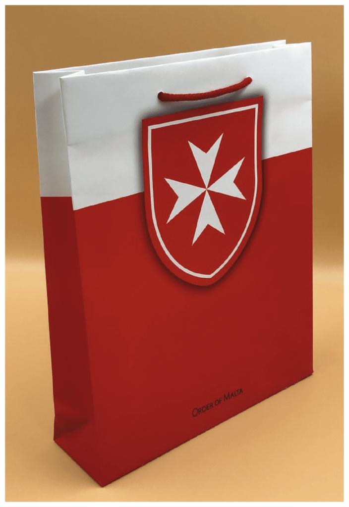 shopper carta personalizzate lusso rifipack plastificazione opaca rosso bianco croce di malta