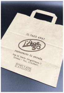 shopper take away food carta riciclabile ecologica riutilizzabile rifipack