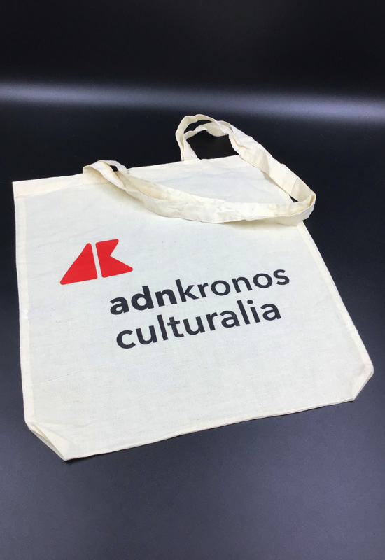adn kronos culturalia modello tracolla shopper bag cotone naturale manici lunghi stampa personalizzata rifipack