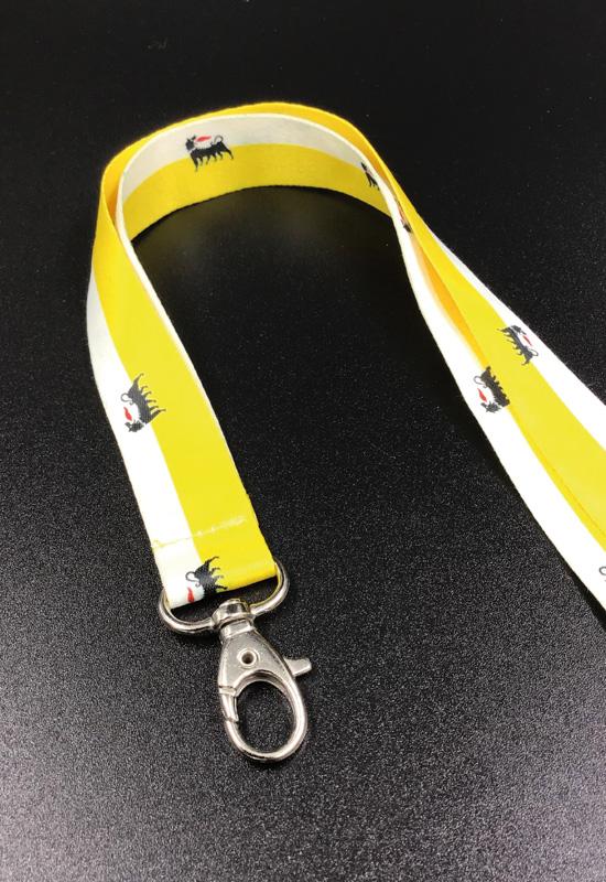 eni gadget promozionale laccetto collo lanyard personalizzato moschettone metallo portabadge portachiavi rifipack