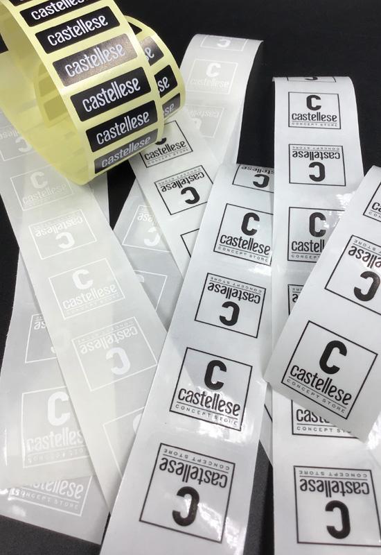 etichette adesive chiudibusta chiudipacco personalizzate rettagolari quadrate carta pvc trasparente abbigliamento rifipack