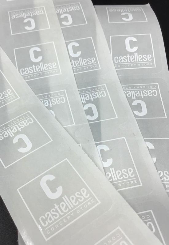 etichette adesive chiudibusta in pvc trasparente stampa bianca varie misure rifipack