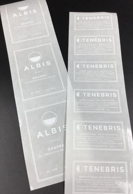 etichette adesive personalizzate bottiglia grappa albis tenebris liquore trasparenti pvc rifipack