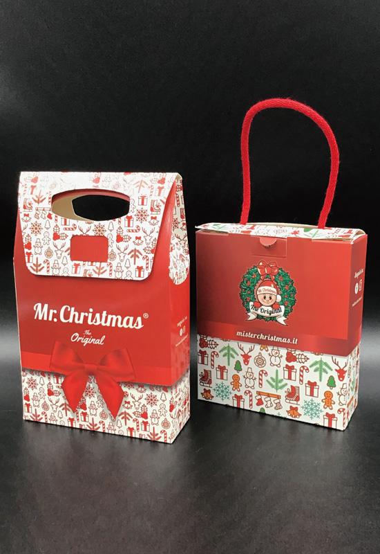 mr. christmas cartotecnica scatole forme speciali personalizzate creatività speciale natale feste scatole automontanti con maniglia made in italy artigianale rifipack