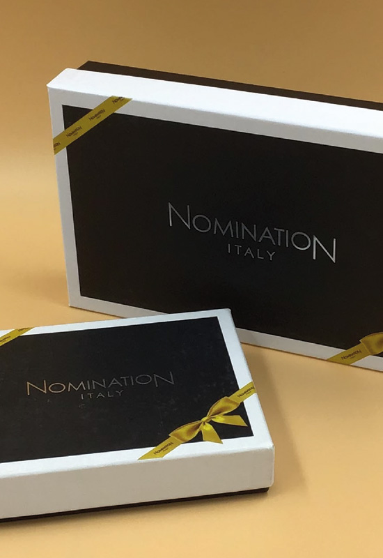 nomination scatole luxury gioielli gioielleria cartone rigido con coperchio personalizzate stampa argento a caldo creatività artigianale made in italy rifipack