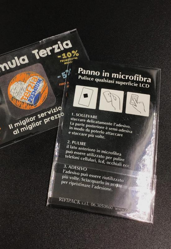panno puliscischermo microfibra con bustina gadget personalizzato rifipack promo brand marchio grandi eventi