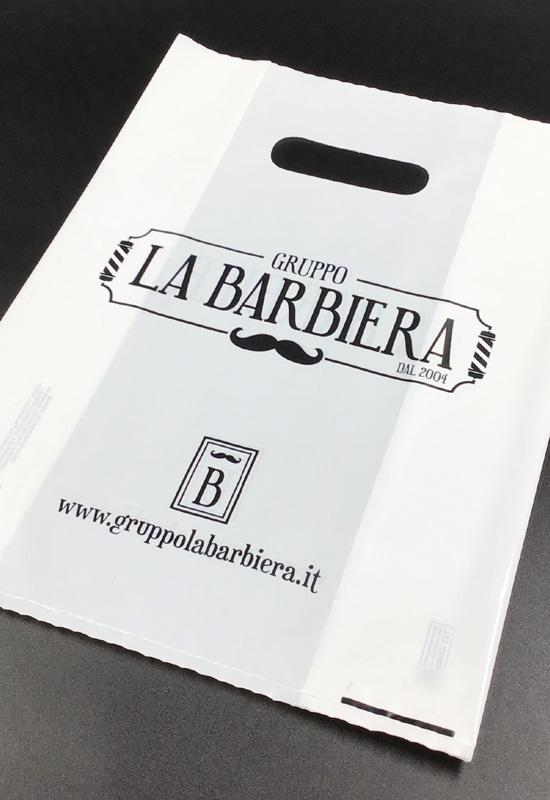 sacchetti plastica bianca buste shopper personalizzate maniglia fagiolo fustellata dritta stampa logo rifipack