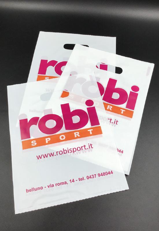 sacchetti plastica opaca lucida personalizzati stampa logo 2 colori maniglia fustellata fagiolo dritta soffietto laterale rifipack