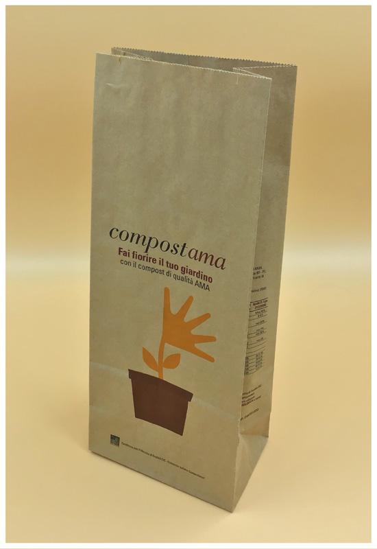 sacchetto per compost biodegradabile fondo quadro in piedi rifipack ama compostama